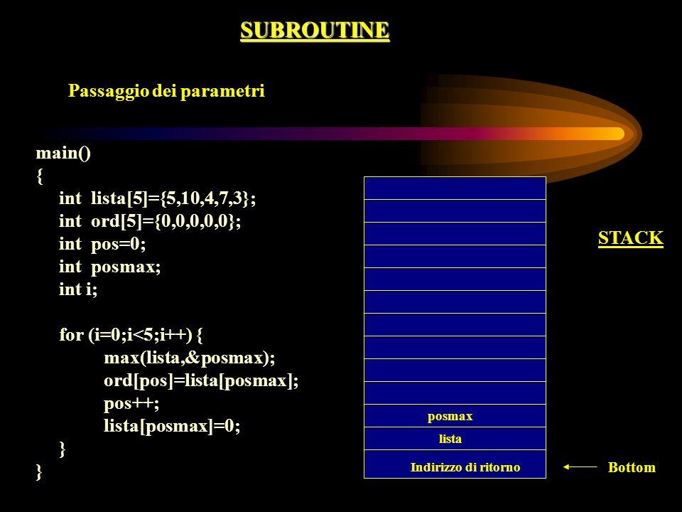 SUBROUTINE Passaggio dei parametri main() { int lista[5]={5,10,4,7,3};